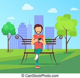Man Sits on Bench in City Park with Modern Smartphone