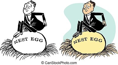 Man Sits on Nest Egg
