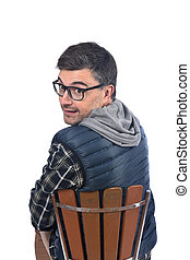 man sitting a chair on white background