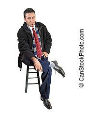 Man sitting.