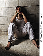 Man sitting alone desperate in night