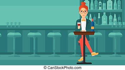 Man sitting at bar.
