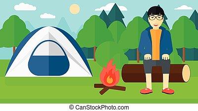 Man sitting at camp.