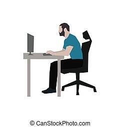 Man sitting at his desk working on computer, abstract vector silhouette, flat design. Work in office