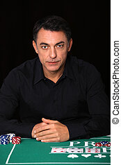 Man sitting at poker table