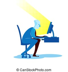 Man sitting at the computer. Vector illustration.