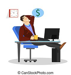 Man sitting at the desk at work and dream about money
