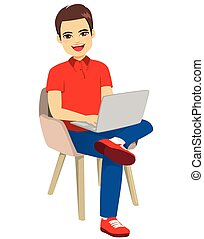 Man Sitting Chair With Laptop