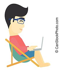 An asian man sitting in a folding chair with laptop vector flat design illustration isolated on white background.