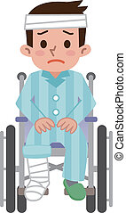 Man that was hurt is sitting in a wheelchair. Vector illustration.