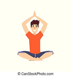 Man sitting in lotus pose with arms raised above his head, young man practicing yoga vector Illustration on a white background