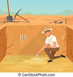 Man sitting in square pit and sweeping dirt from skeleton s...