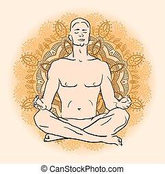 man sitting in the lotus position doing yoga meditation