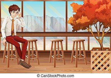 Man sitting in the restaurant