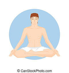 Man sitting in the yoga pose. Lotus position.  Vector illustration. Background.