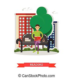 Man sitting on a bench in park, reading book and drinking coffee. Vector illustration in flat style design
