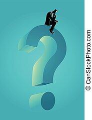 Man sitting on big question mark symbol