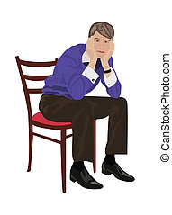 Man sitting on chair and thinking