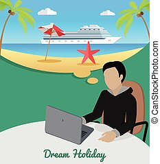 Man Sitting on Chair Dreaming About Good Rest. - Dream...