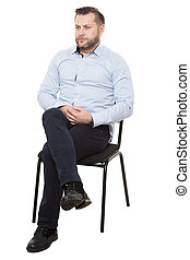 man sitting on chair. Isolated white background, arms...
