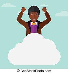 Man sitting on cloud.
