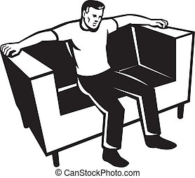 Man Slouching On A Lazy Chair Or Couch Illustration Man