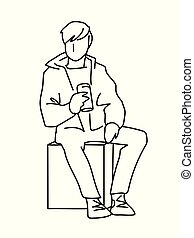 Man sitting on cube with can of soda or other soft drink. Black lines isolated on white background. Consept. Vector illustration of man in simple line art style. Monochromatic hand drawn sketch
