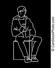 Man sitting on cube with can of soda or other soft drink. White lines isolated on black background. Consept. Vector illustration of man in simple line art style. Monochromatic hand drawn sketch.