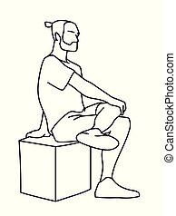 Man sitting on cube with one foot up on knee. Black lines isolated on white background. Concept. Vector illustration of man with beard in simple line art style. Monochromatic hand drawn sketch