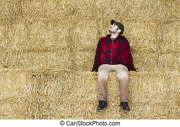 man sitting on hay