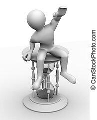 Man sitting on hourglass