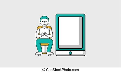 man sitting on office chair with big smartphone