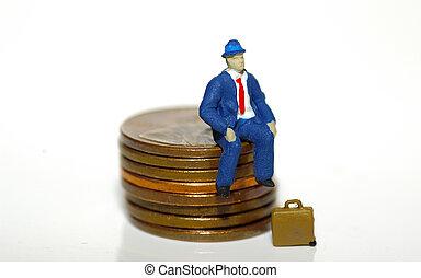 Man Sitting On Pennies