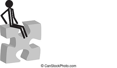 man sitting on puzzle