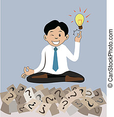 man sitting on question mark and getting the idea