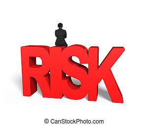 Man sitting on red 3D risk word