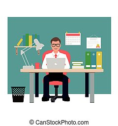 Man sitting on red chair in office. Businessman vector illustration.