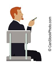 Man Sitting on the Chair and Pointing by Hand. - Man sitting...
