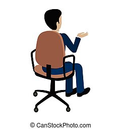 Man Sitting on the Chair and Pointing on Something - Man...