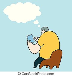 Man sitting on the chair playing tablet pad with thinking bubble