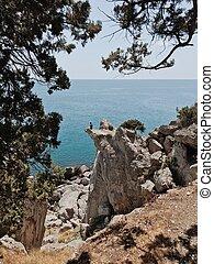 Man sitting on the cliff edge
