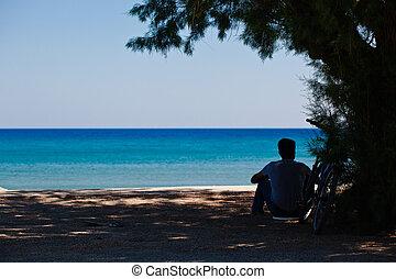 Man sitting on the sand