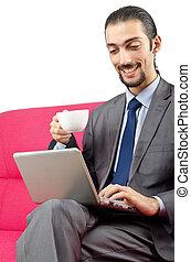 Man sitting on the sofa