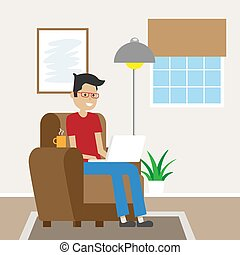 Man sitting on the sofa working with laptop. Telecommuting
