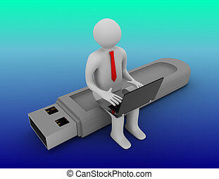 Man sitting on usb . 3d rendered illustration
