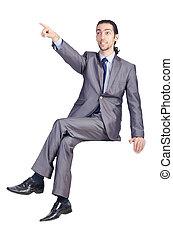 Man sitting on virtual chair
