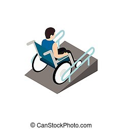 Man sitting on wheelchair on the ramp icon