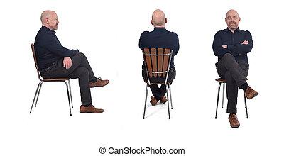 man sitting on white background