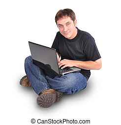 Man Sitting on White with Laptop Computer