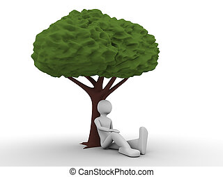 Man sitting under the tree - 3d rendered copyspaced image...